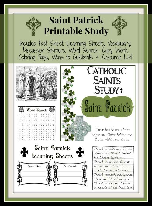 Saint Patrick Printables – Part of the Saints Unit Studies Series