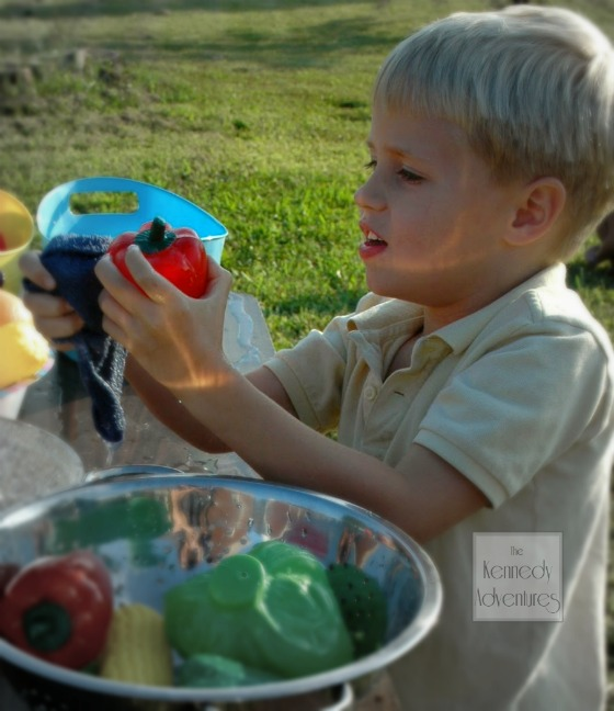 preschool sensory play with fruits and vegetables