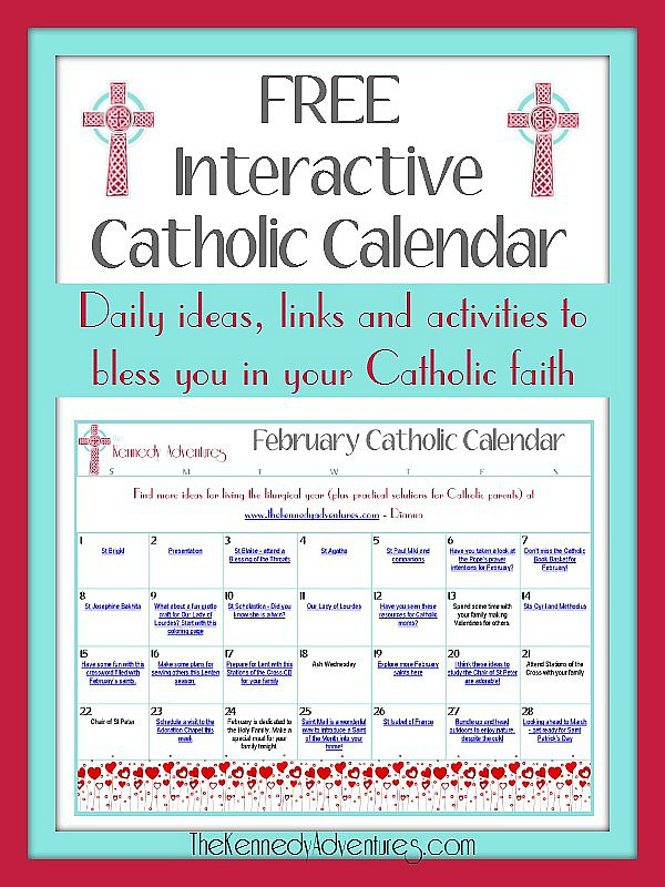 Catholic family activity calendar for February