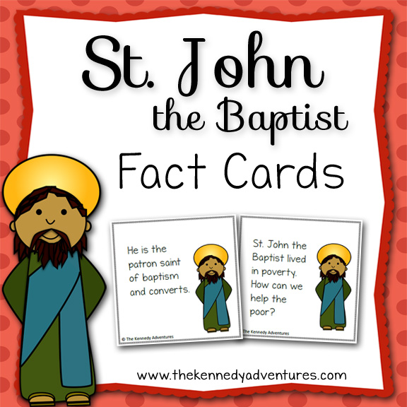Use these Fun Fact Cards about St John the Baptist in your Catholic home, homeschool, religious education class, co-op or classroom.