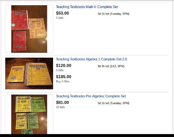 Looking to save money on teaching textbooks homeschool math curriculum? Check Ebay.
