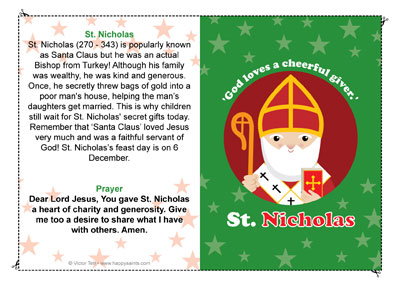 Saint Nicholas prayer card for kids
