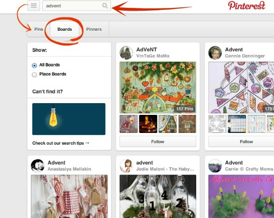 Pinterest search features