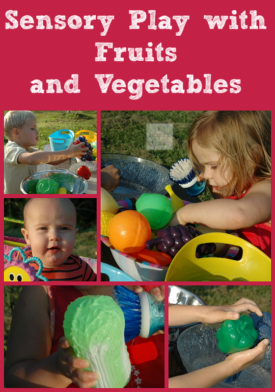 sensory play for preschoolers with fruits and vegtables #playfulpreschool