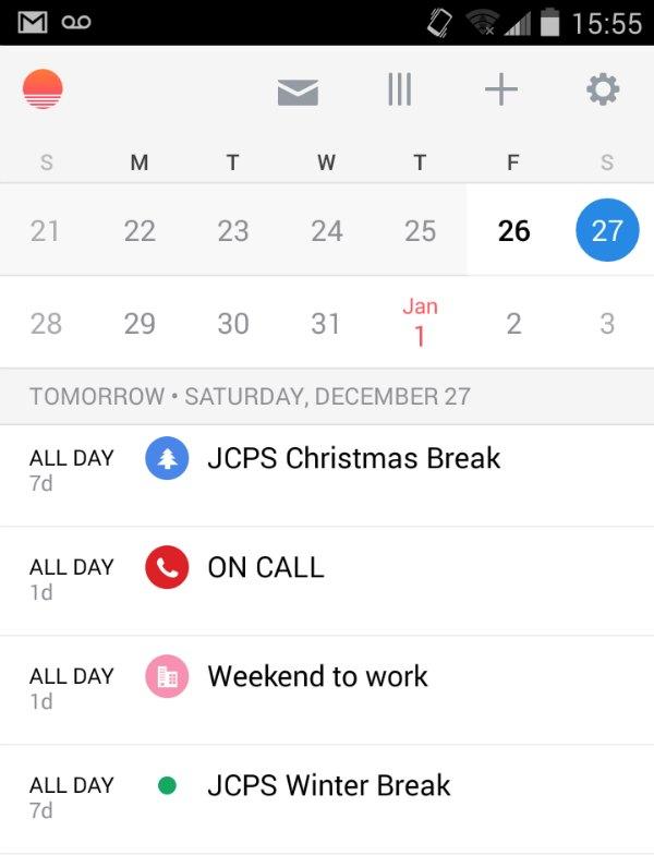 sunrise calendar app