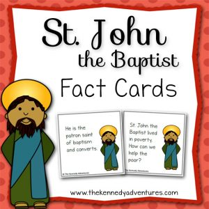 Study St John the Baptist with these Saint FUN Fact Cards! Great for Catholic kids!