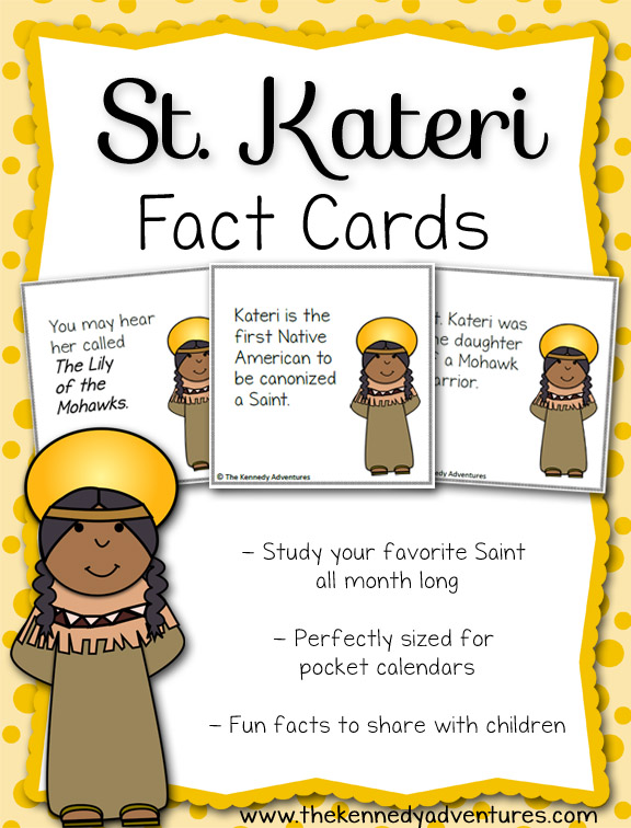 St Kateri Fun Fact Cards -- perfect for teaching children all about your favorite Catholic saint!!