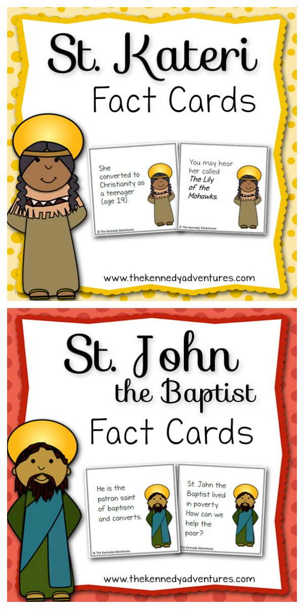 Saint Fun Fact Cards for Catholic Kids - June is St Kateri and St John the Baptist