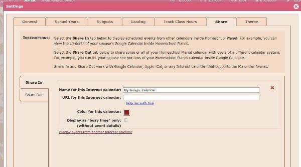 online homeschool planner import Google calendar