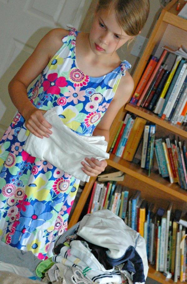 teach tweens how to fold laundry