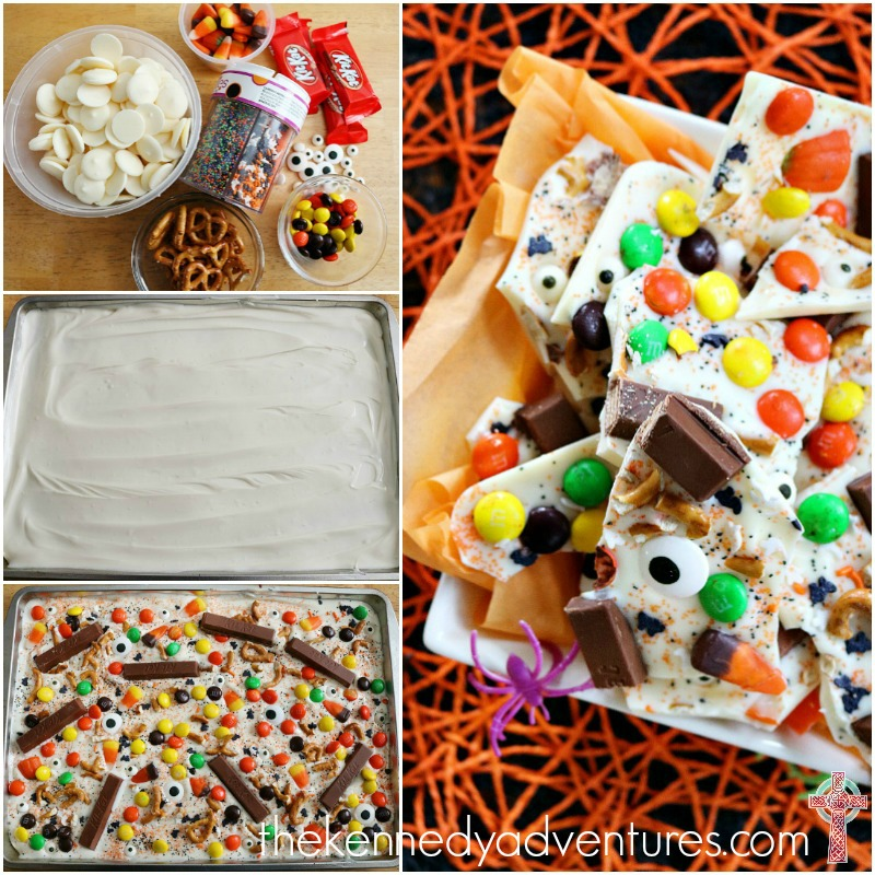 Halloween Candy Bark - perfect for taking to a party or enjoying at home with your family! Delicious, and super simple!