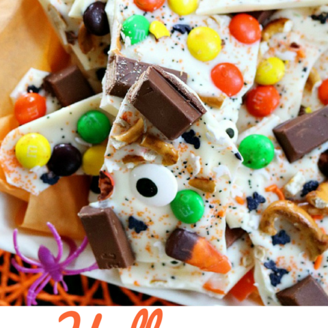 Halloween Candy Bark - enjoy with your family or take to a party! It's super simple and delicious!