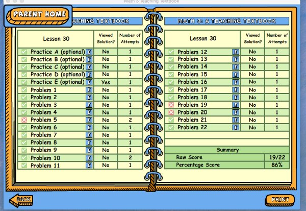 How to use the teaching textbooks homeschool math program's gradebook