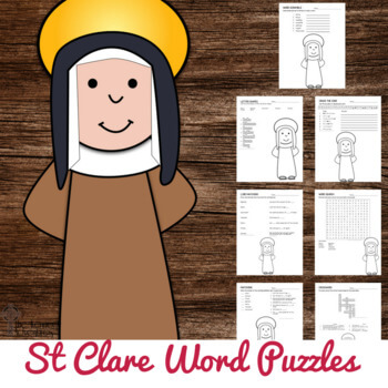 These St Clare Word Puzzles are perfect for your Catholic Students!