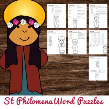Saint Philomena Word Puzzles #CatholicPrintables
