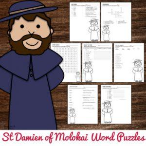 Saint Damien of Molokai Word Puzzles