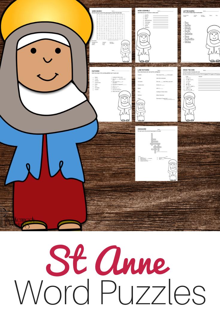 St Anne Word Puzzles #Catholic #CatholicPrintables