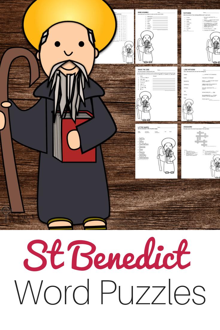 St Benedict Word Puzzles #Catholic #CatholicPrintables