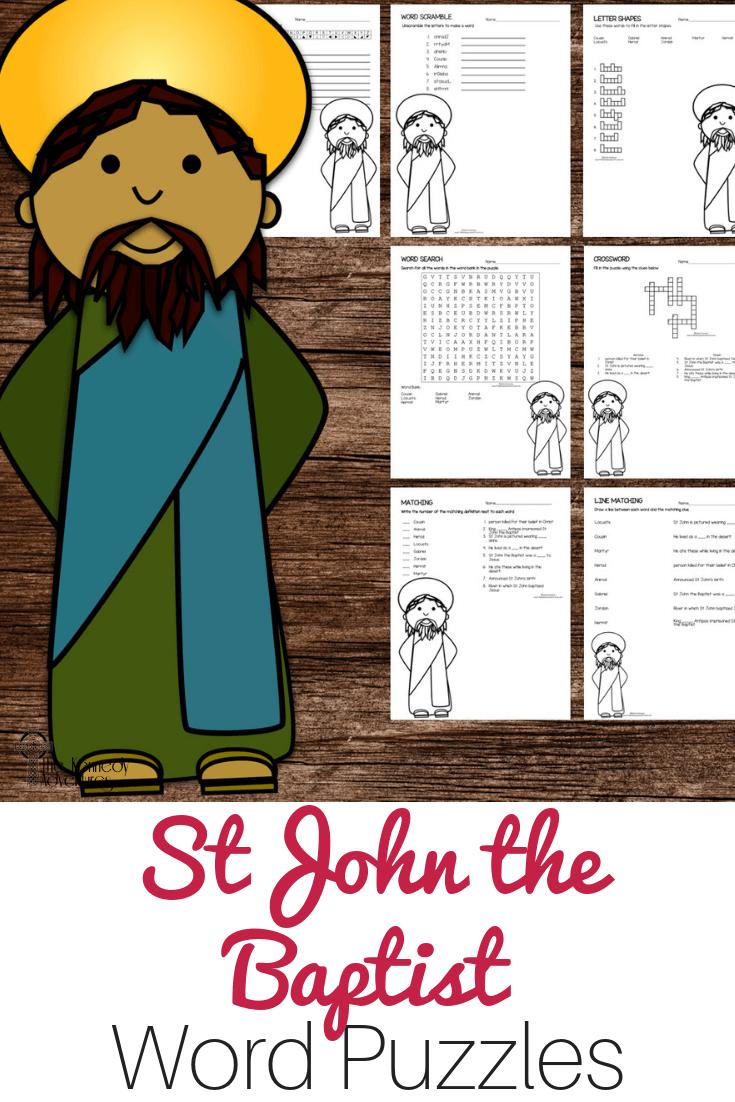 St John the Baptist Word Puzzles #Catholic #CatholicPrintables