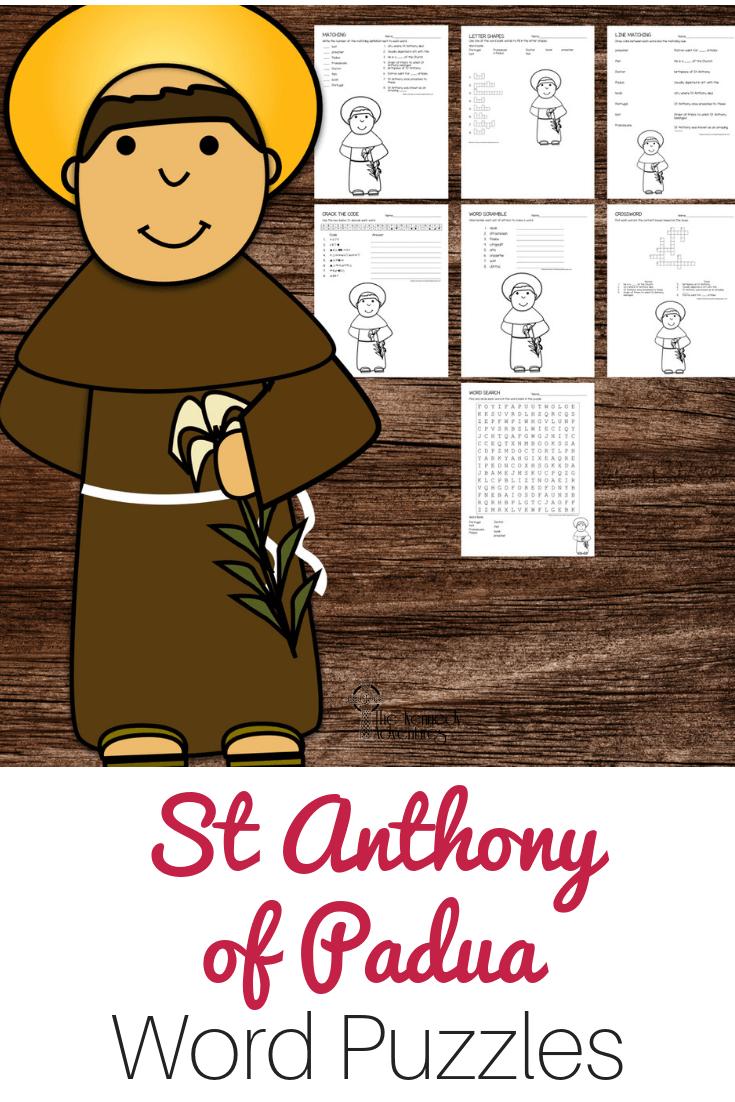 St Anthony of Padua Word Puzzles #Catholic #CatholicPrintables
