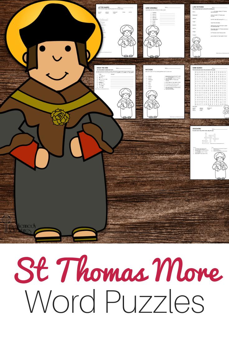 St Thomas More Word Puzzles #Catholic #CatholicPrintables