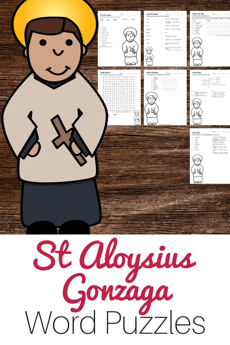 St Aloysius Gonzaga Word Puzzles #Catholic #CatholicPrintables
