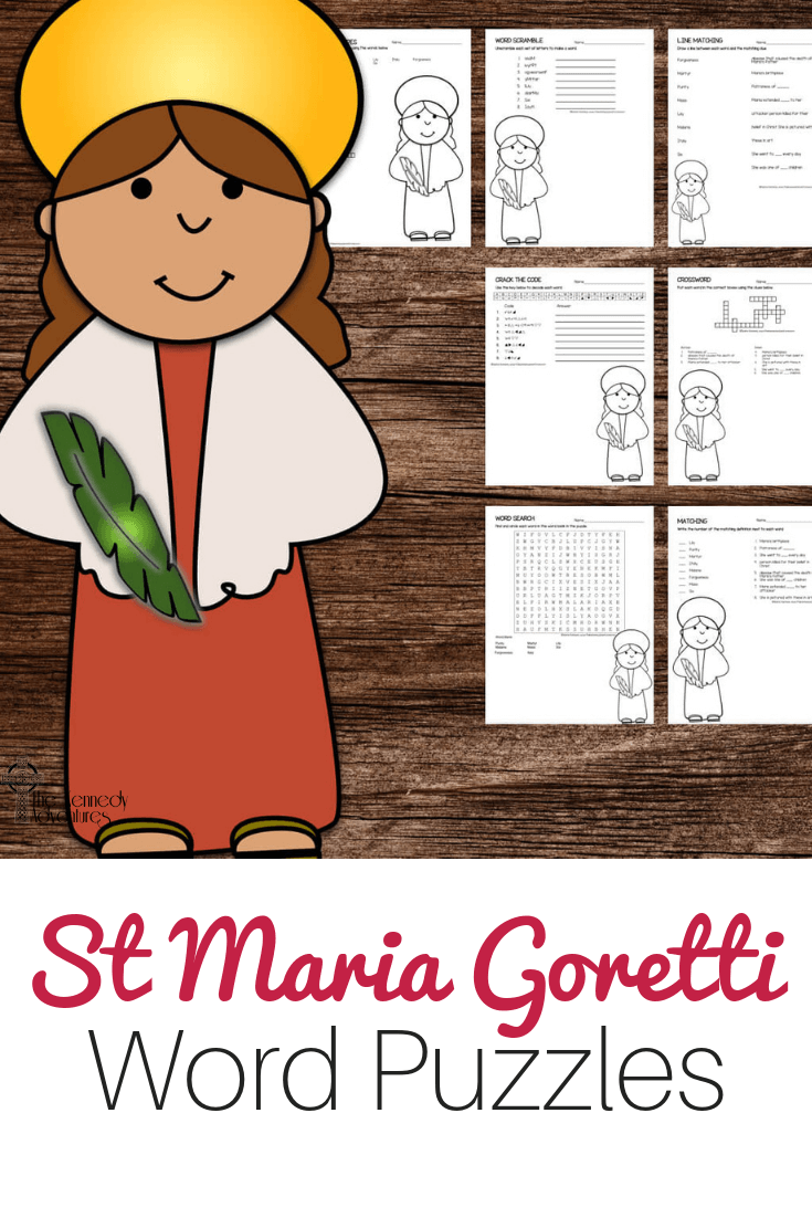 St Maria Goretti Word Puzzles #Catholic #CatholicPrintables