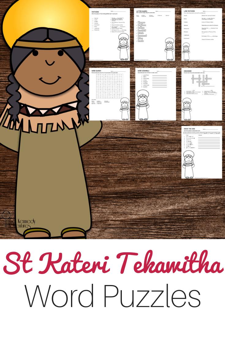 St Kateri Tekawitha Word Puzzles #Catholic #CatholicPrintables